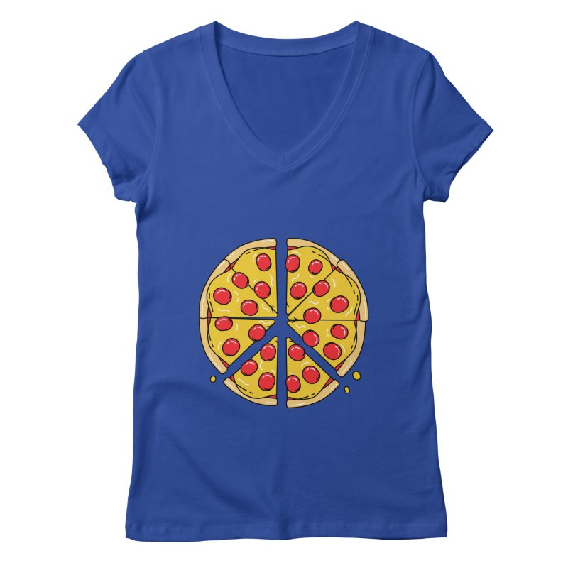 Give Pizza Chance Women's Regular V-Neck by I am a graphic designer