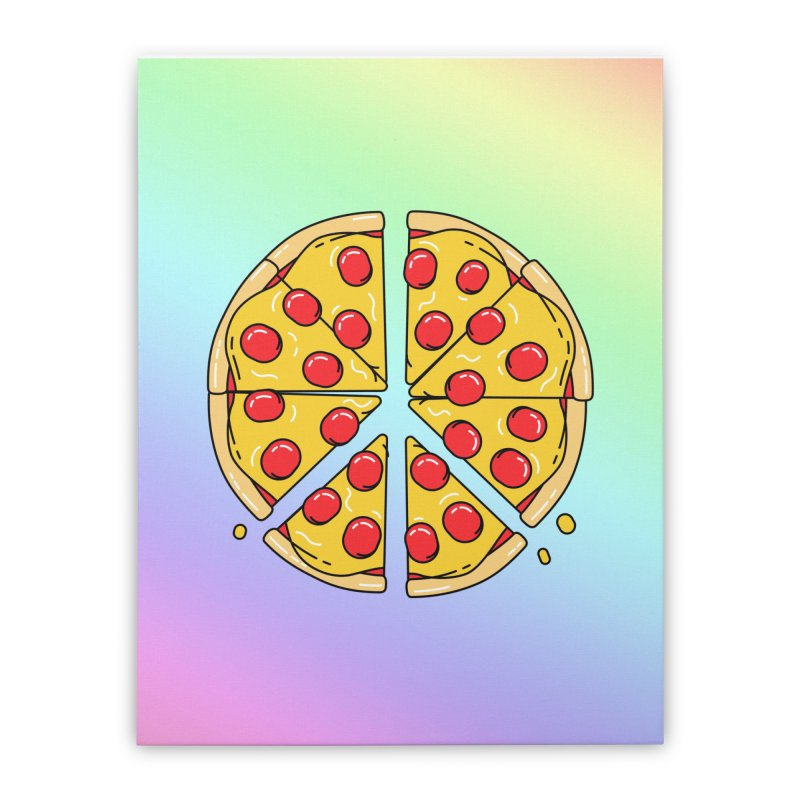 Give Pizza Chance Home Stretched Canvas by I am a graphic designer