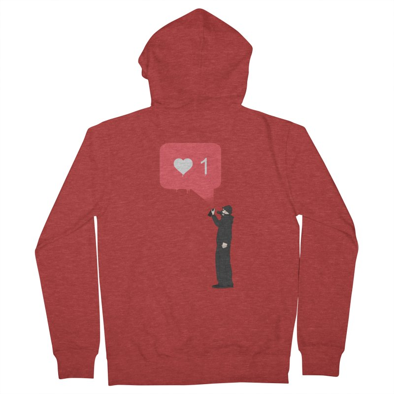 Modern Heart Men's French Terry Zip-Up Hoody by I am a graphic designer