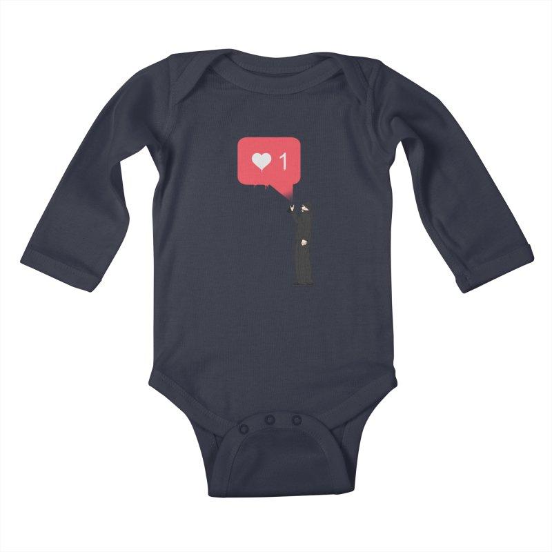 Modern Heart Kids Baby Longsleeve Bodysuit by I am a graphic designer