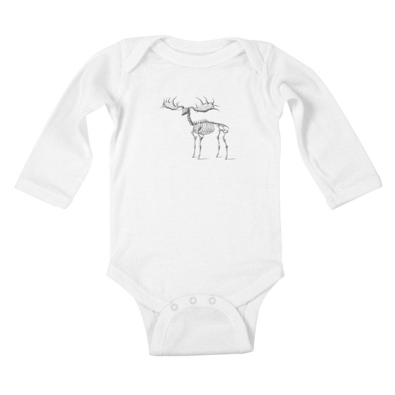 Elk skeleton Kids Baby Longsleeve Bodysuit by Iacobaeus's Artist Shop