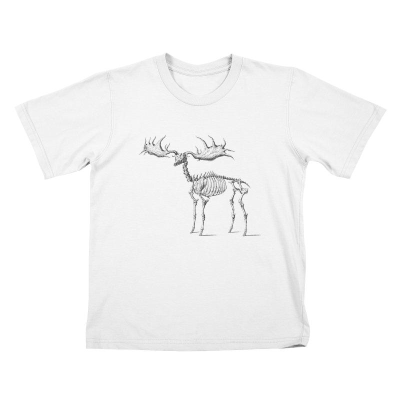 Elk skeleton Kids T-shirt by Iacobaeus's Artist Shop