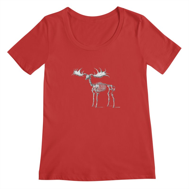 Elk skeleton Women's Scoopneck by Iacobaeus's Artist Shop