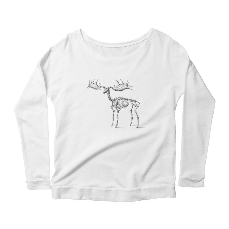 Elk skeleton Women's Longsleeve Scoopneck  by Iacobaeus's Artist Shop