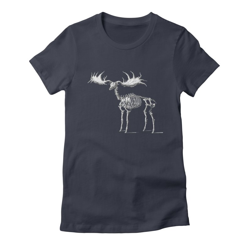 Elk skeleton Women's Fitted T-Shirt by Iacobaeus's Artist Shop