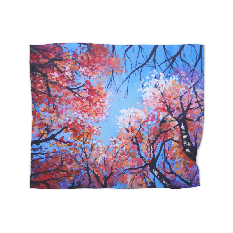 Under the fall trees Home Fleece Blanket Blanket by Alecs' Shop
