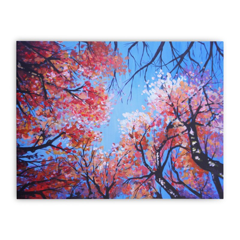 Under the fall trees Home Stretched Canvas by Alecs' Shop