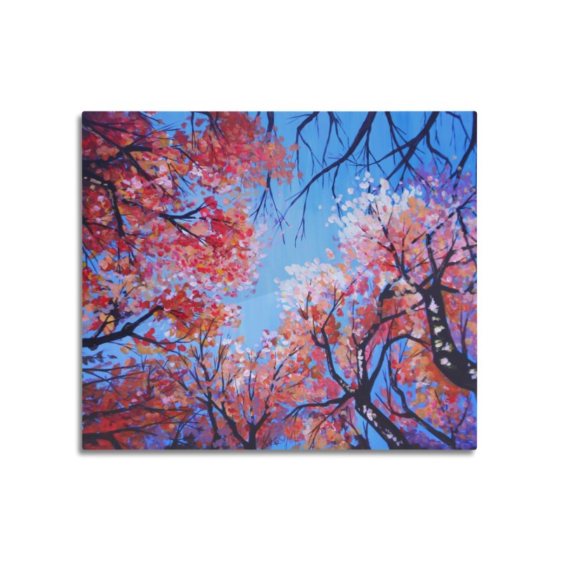 Under the fall trees Home Mounted Aluminum Print by Alecs' Shop