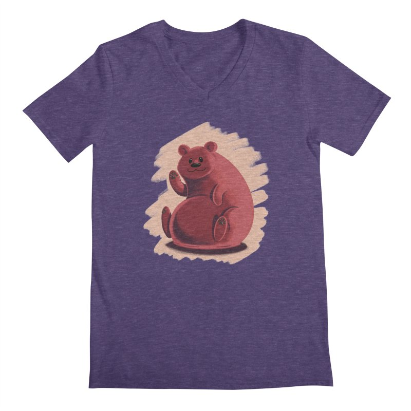 Happy bear Men's Regular V-Neck by Birgitte Johnsen's Artist Shop