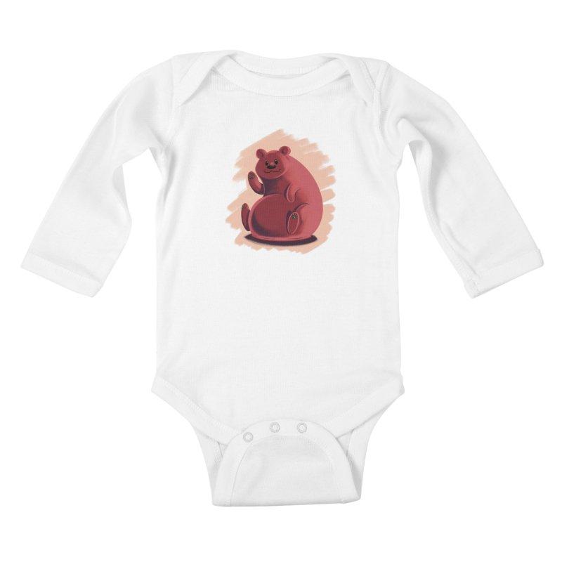 Happy bear Kids Baby Longsleeve Bodysuit by Birgitte Johnsen's Artist Shop