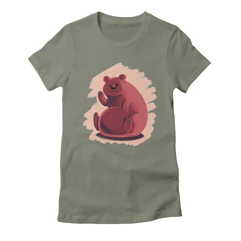 Happy bear Women's Fitted T-Shirt by Birgitte Johnsen's Artist Shop