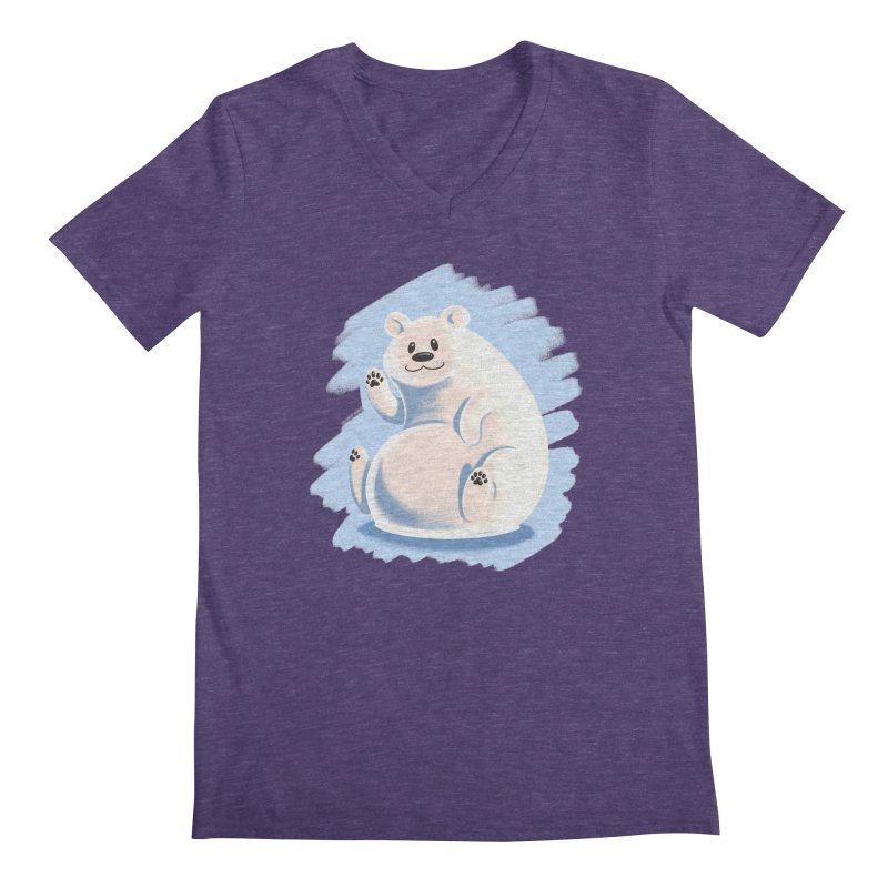 Happy polar bear Men's Regular V-Neck by Birgitte Johnsen's Artist Shop