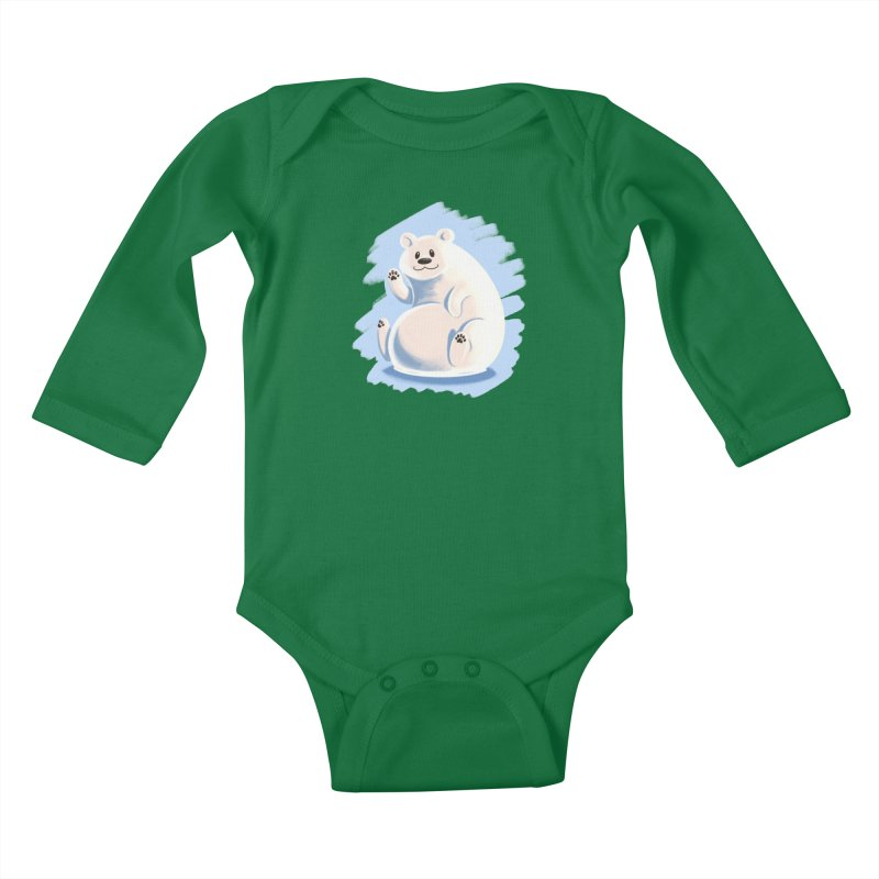 Happy polar bear Kids Baby Longsleeve Bodysuit by Birgitte Johnsen's Artist Shop