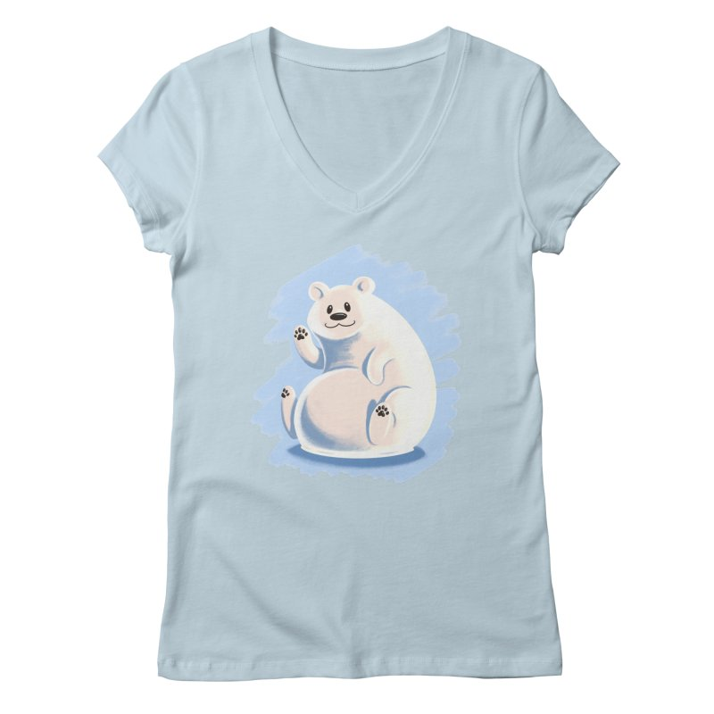 Happy polar bear Women's V-Neck by Birgitte Johnsen's Artist Shop