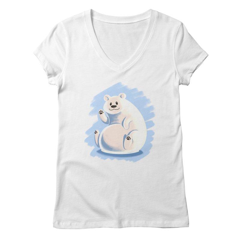 Happy polar bear Women's V-Neck by Birgitte Johnsen's Artist Shop