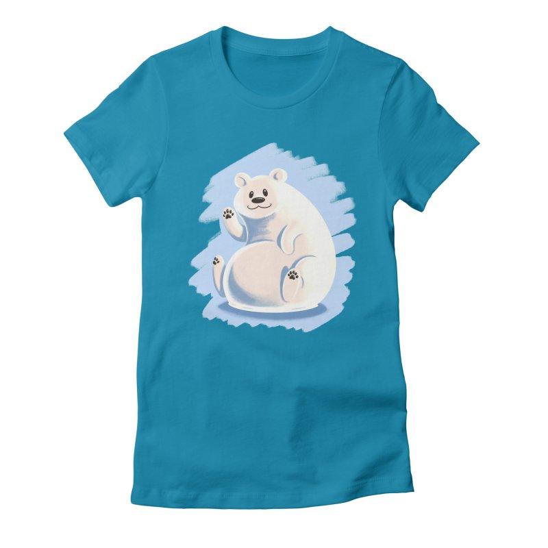 Happy polar bear Women's Fitted T-Shirt by Birgitte Johnsen's Artist Shop