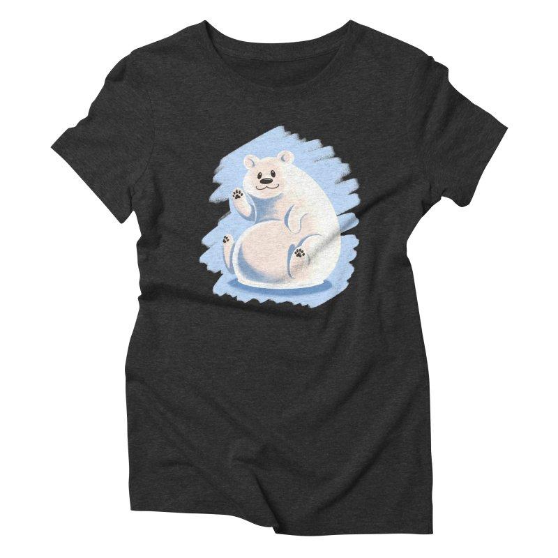 Happy polar bear Women's Triblend T-Shirt by Birgitte Johnsen's Artist Shop