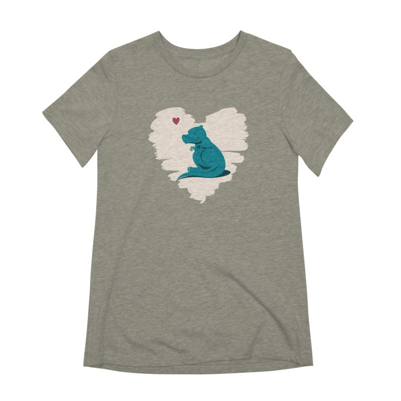 Tiny dino loves you Women's T-Shirt by Birgitte Johnsen's Artist Shop