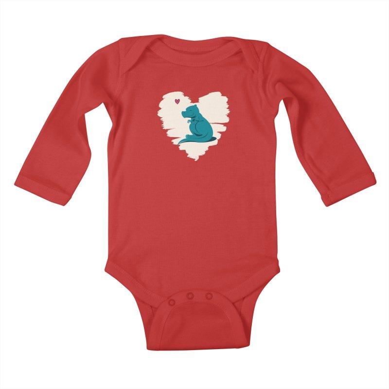 Tiny dino loves you Kids Baby Longsleeve Bodysuit by Birgitte Johnsen's Artist Shop