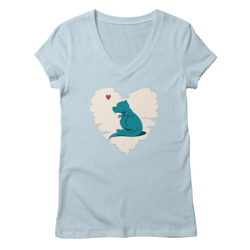 Tiny dino loves you Women's V-Neck by Birgitte Johnsen's Artist Shop