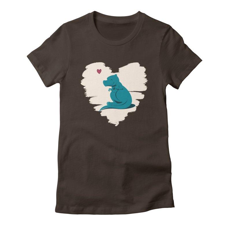 Tiny dino loves you Women's Fitted T-Shirt by Birgitte Johnsen's Artist Shop