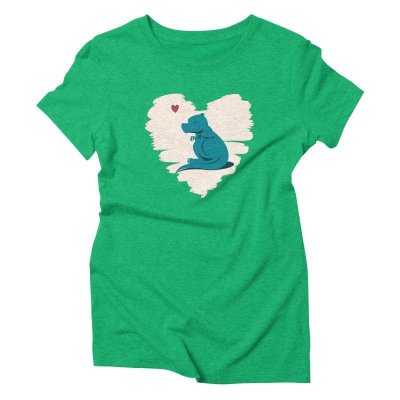 Tiny dino loves you Women's Triblend T-Shirt by Birgitte Johnsen's Artist Shop