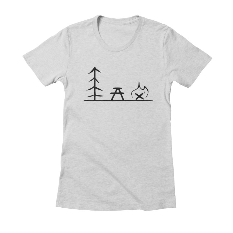 Simple Camping Women's Fitted T-Shirt by iamcoreykeller's Artist Shop