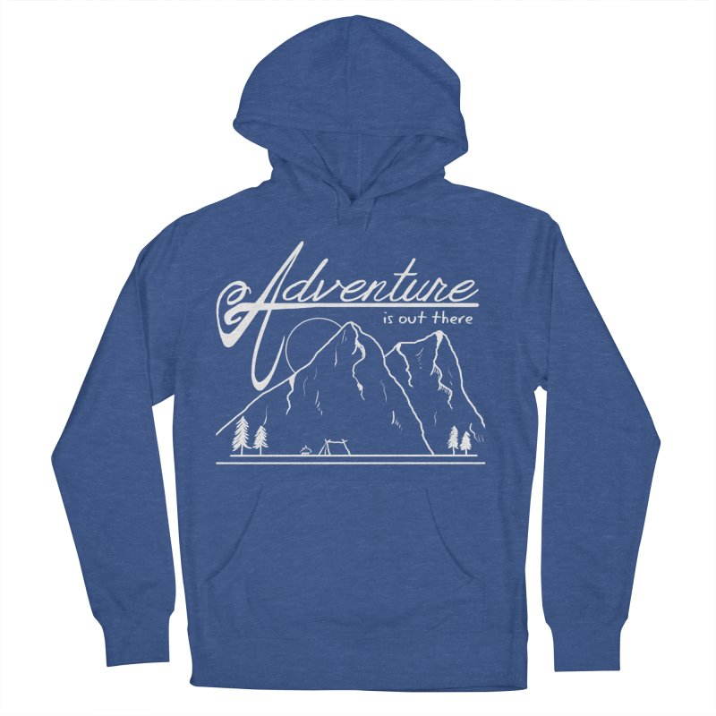 Adventure is Out There in Men's French Terry Pullover Hoody Heather Royal by iamcoreykeller's Artist Shop