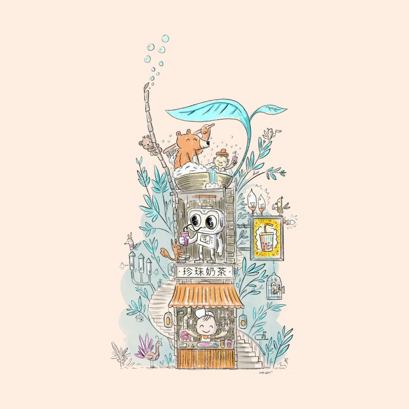 Mr Bui's Bubble Tea Bathhouse None  by Habuki Artist Shop