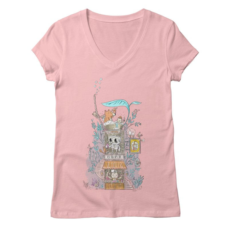 Mr Bui's Bubble Tea Bathhouse Women's V-Neck by Habuki Artist Shop