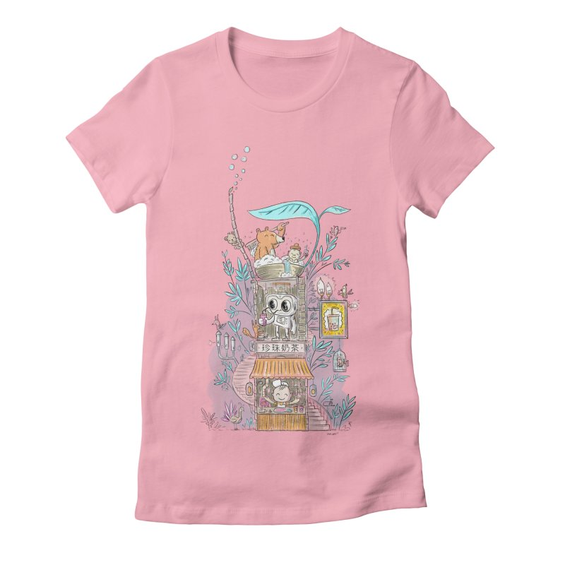 Mr Bui's Bubble Tea Bathhouse Women's Fitted T-Shirt by Habuki Artist Shop