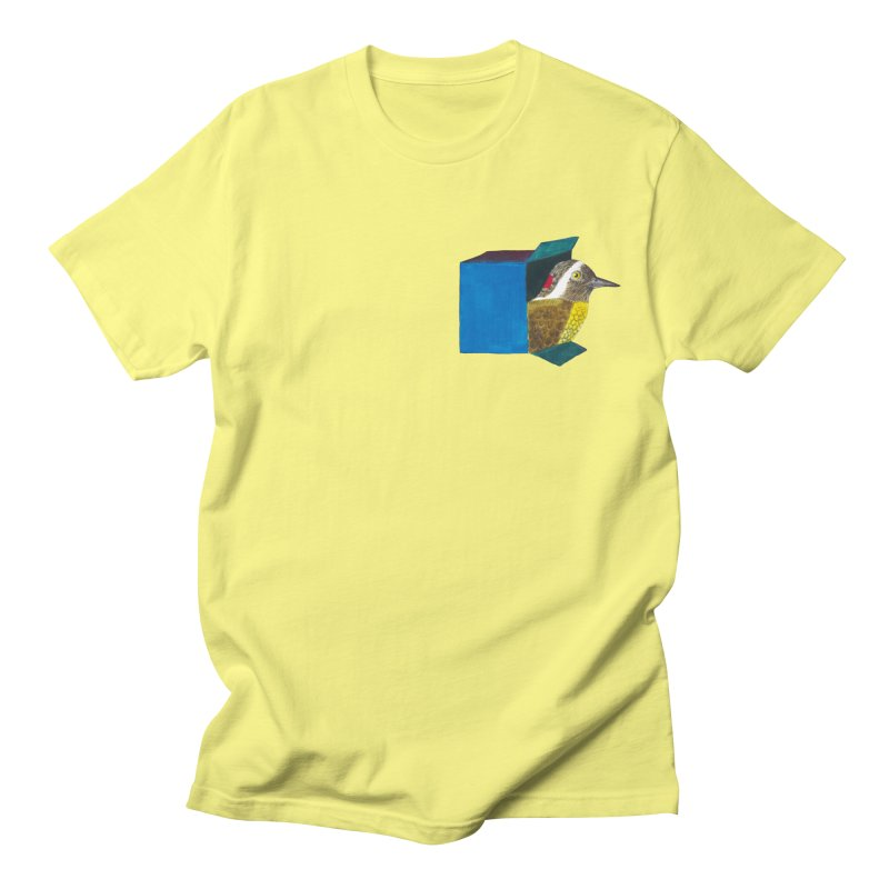 Bird in a Box | how did he get there? Men's T-Shirt by MarcusFartist | Art POD Factory