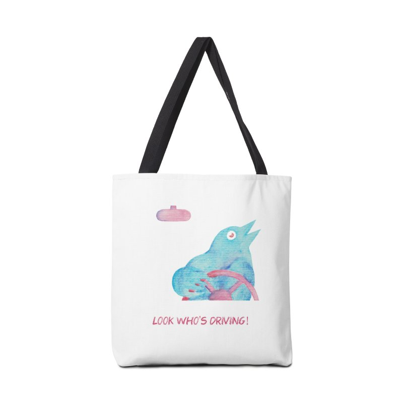 Look Who's Driving | wild screaming bird driving a car Accessories Tote Bag Bag by MarcusFartist | Art POD Factory