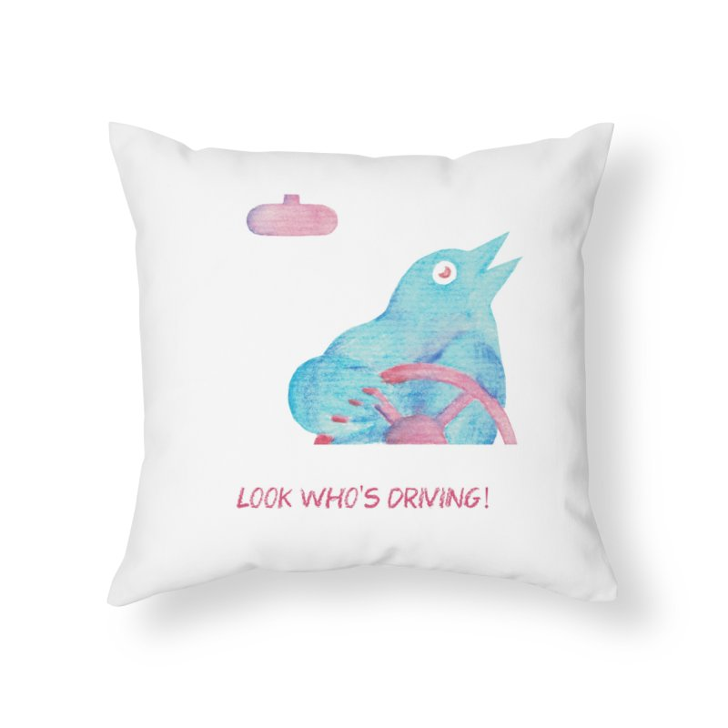 Look Who's Driving | wild screaming bird driving a car Home Throw Pillow by MarcusFartist | Art POD Factory