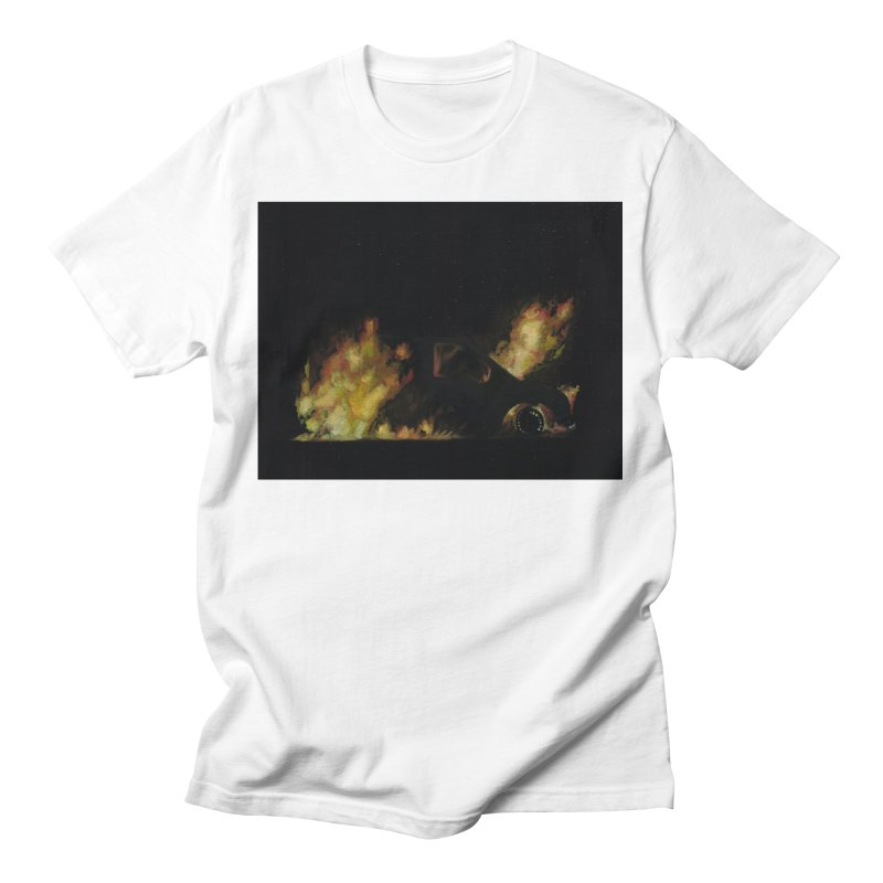 Car Fire at Night   who set this car on fire? Men's T-Shirt by MarcusFartist   Art POD Factory