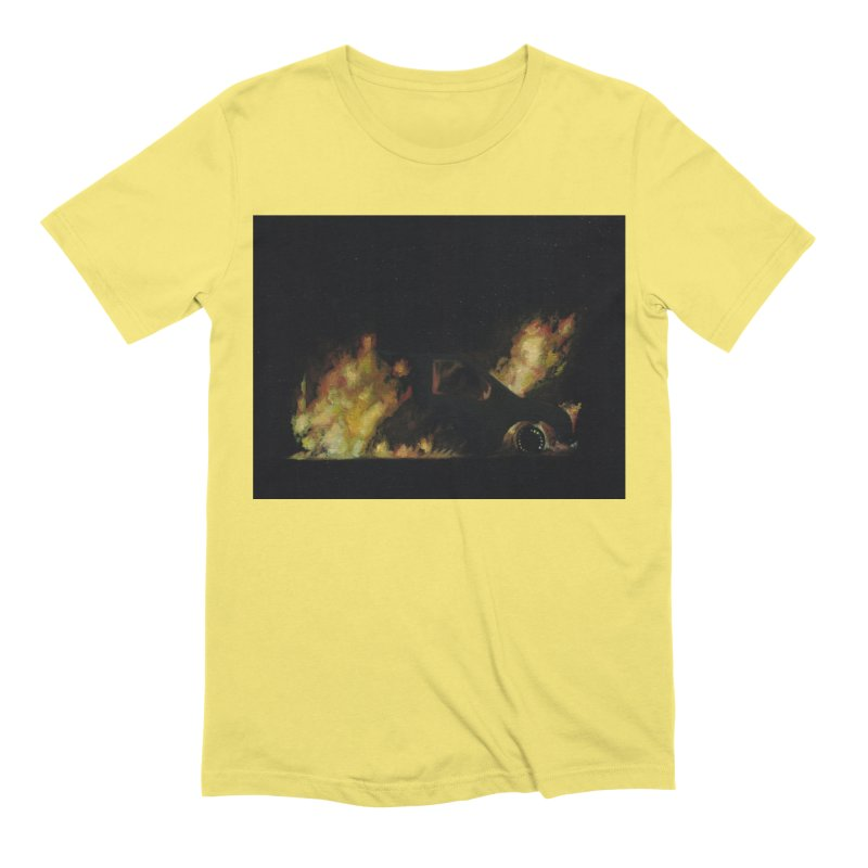 Car Fire at Night | who set this car on fire? Men's T-Shirt by MarcusFartist | Art POD Factory