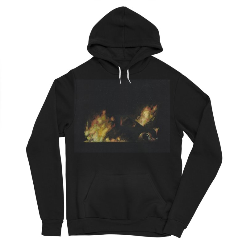 Car Fire at Night | who set this car on fire? Men's Sponge Fleece Pullover Hoody by MarcusFartist | Art POD Factory