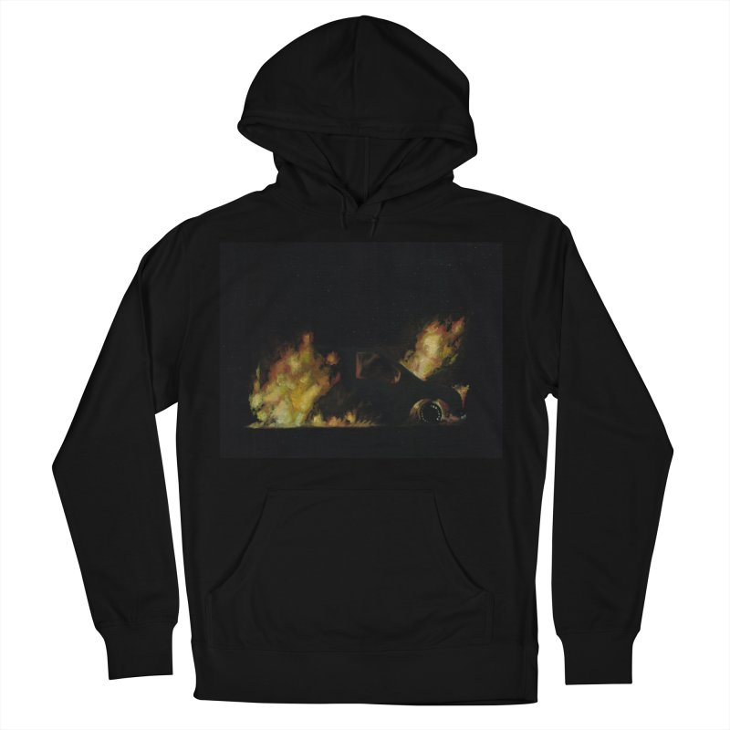 Car Fire at Night   who set this car on fire? Men's French Terry Pullover Hoody by MarcusFartist   Art POD Factory