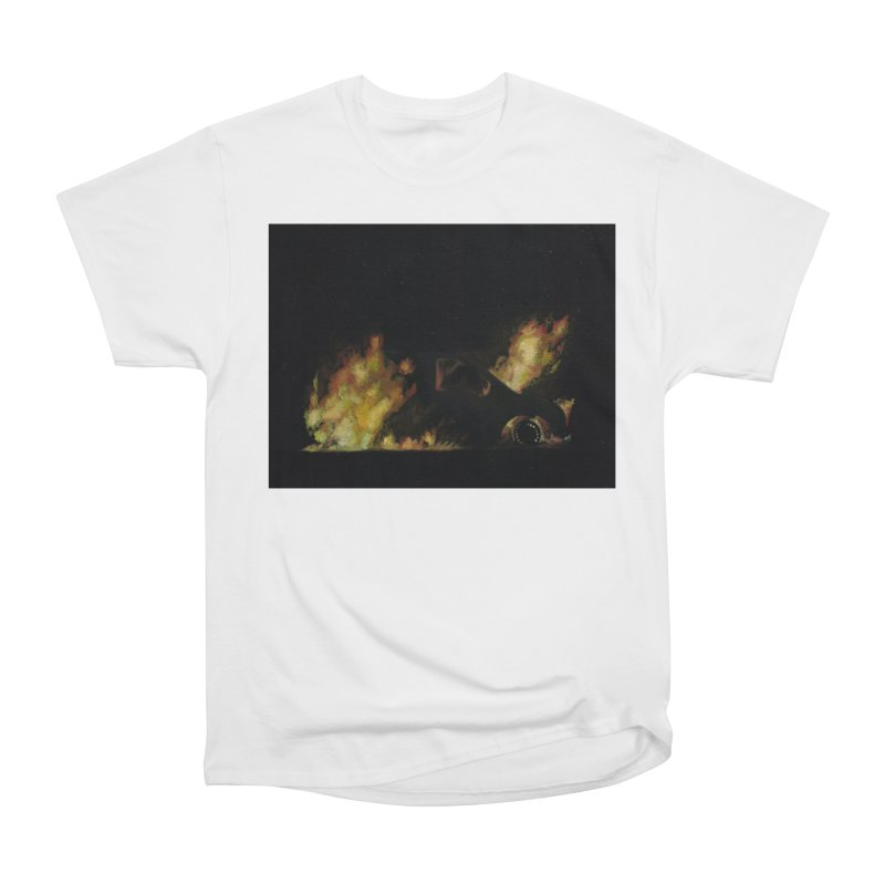 Car Fire at Night | who set this car on fire? Men's Heavyweight T-Shirt by MarcusFartist | Art POD Factory