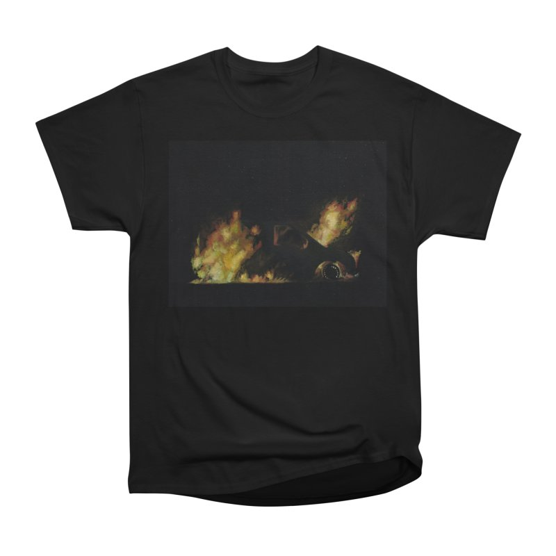 Car Fire at Night | who set this car on fire? Women's Heavyweight Unisex T-Shirt by MarcusFartist | Art POD Factory