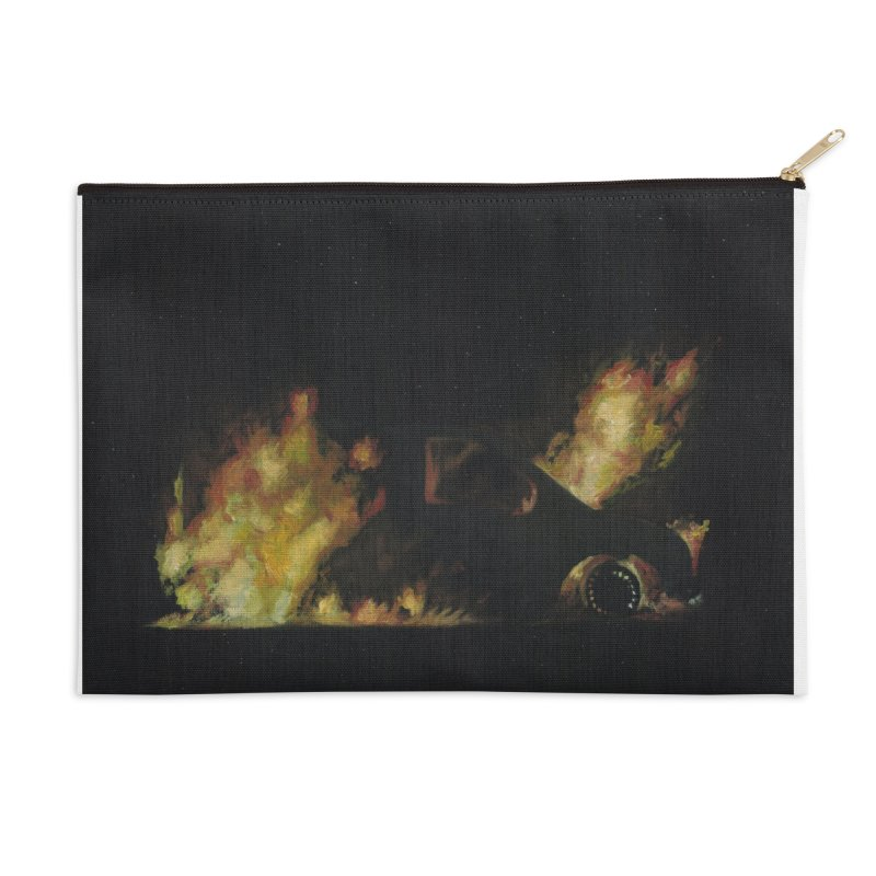 Car Fire at Night | who set this car on fire? Accessories Zip Pouch by MarcusFartist | Art POD Factory