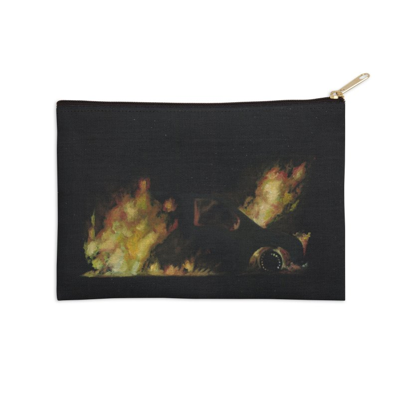 Car Fire at Night   who set this car on fire? Accessories Zip Pouch by MarcusFartist   Art POD Factory