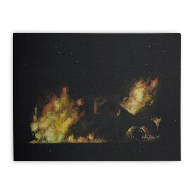 Car Fire at Night | who set this car on fire? Home Stretched Canvas by MarcusFartist | Art POD Factory