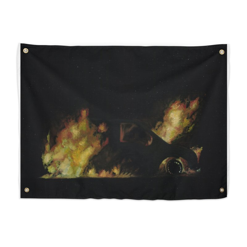 Car Fire at Night | who set this car on fire? Home Tapestry by MarcusFartist | Art POD Factory