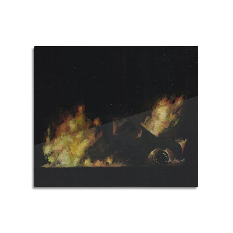 Car Fire at Night | who set this car on fire? Home Mounted Aluminum Print by MarcusFartist | Art POD Factory