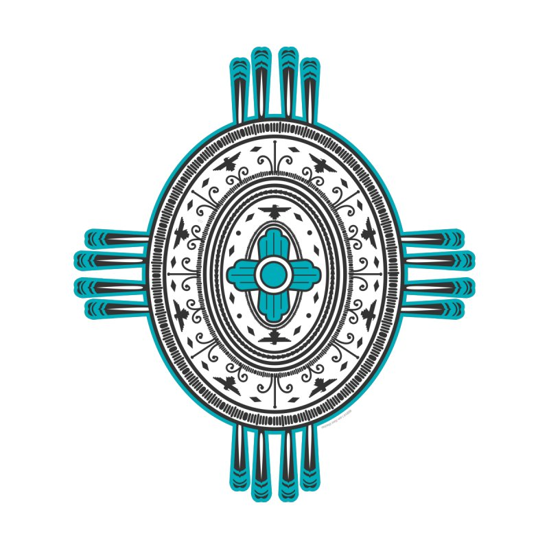 Turquoise Oval Zia Symbol Thunderbird Print by I am New Mexico Merchandise