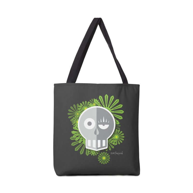 Skull and Flowers Accessories Tote Bag Bag by iamthepod's Artist Shop