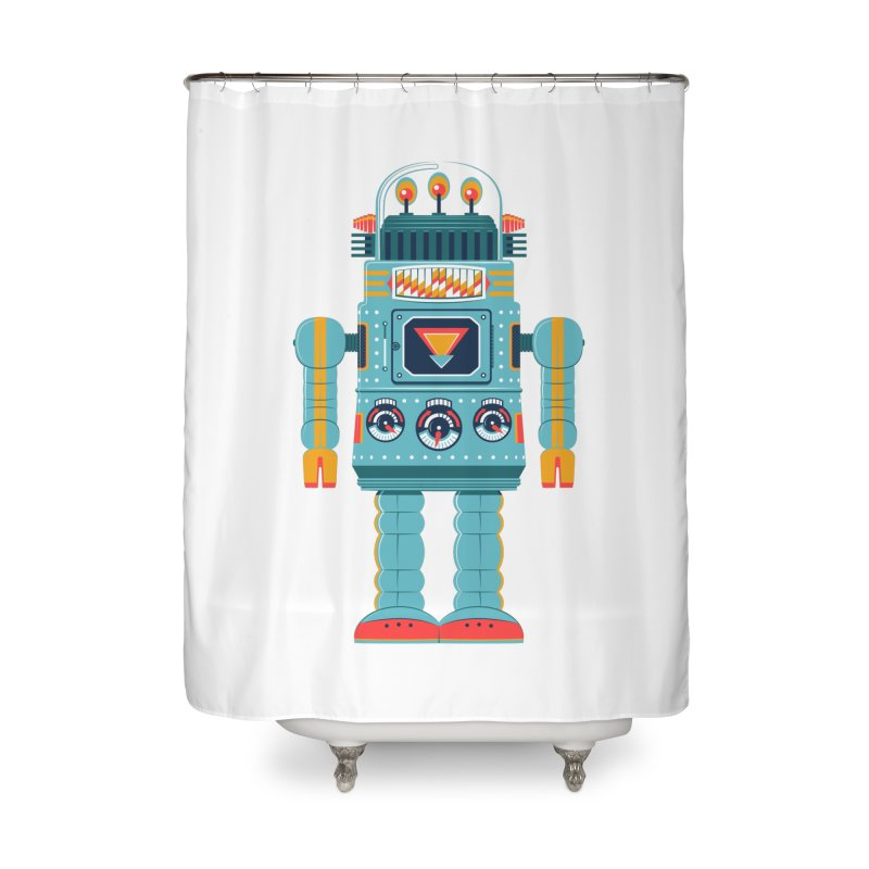Space Robot Home Shower Curtain by Ian Glaubinger on Threadless!