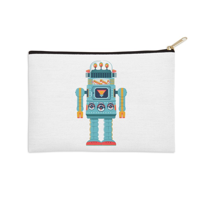 Space Robot Accessories Zip Pouch by Ian Glaubinger on Threadless!