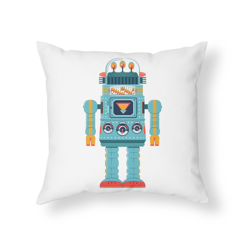 Space Robot Home Throw Pillow by Ian Glaubinger on Threadless!